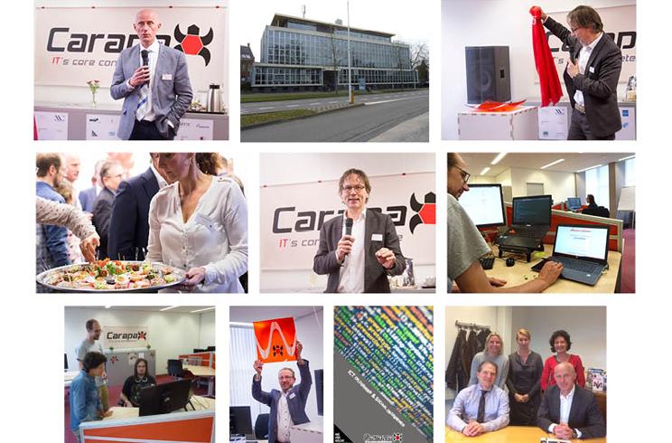 Collage van hoogtepunten tijdens de opening van Carapax IT in Eindhoven